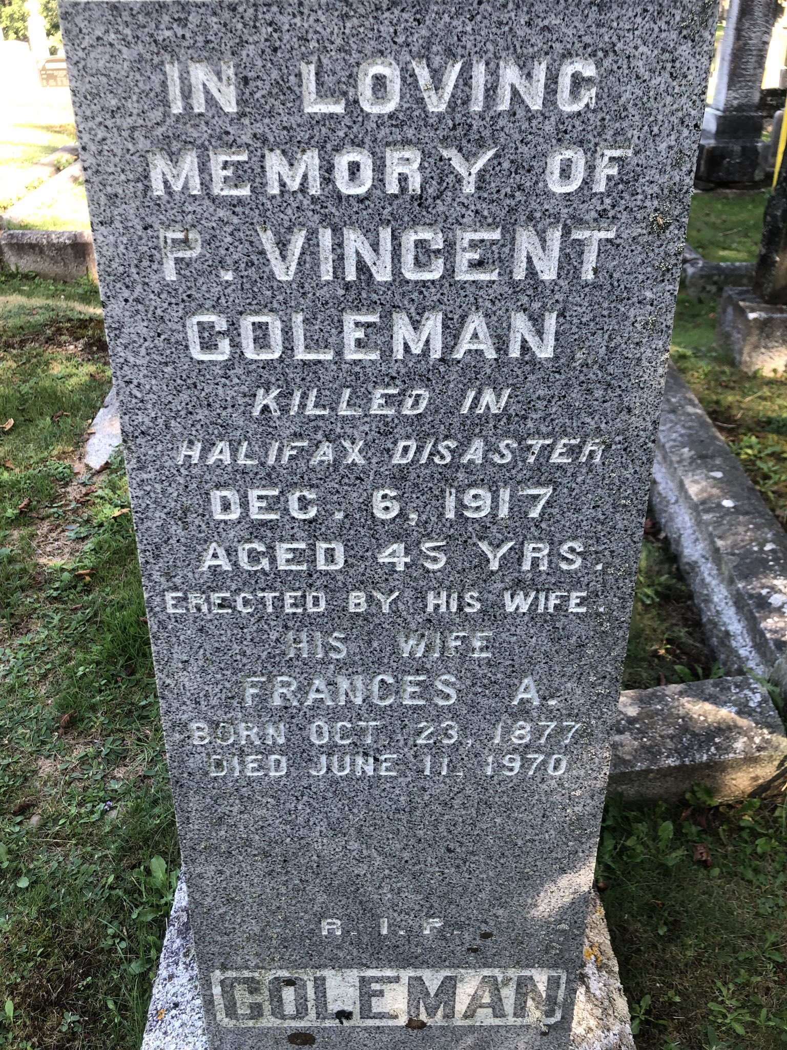 P. Vincent Coleman - close-up of headstone